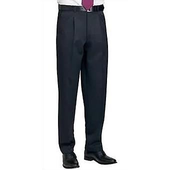 Brook Taverner Delta Single Pleat Mens Smart Formal Work Trousers / Pants