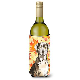 Hojas de caída del leopardo de Catahoula perro botella de vino Beverge aislador Hugger