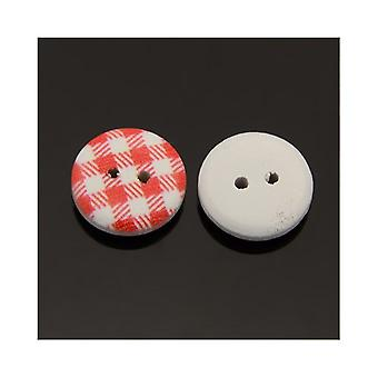 Packet 20 x Red/White Wood 13mm Round 2-Holed Patterned Sew On Buttons HA14205