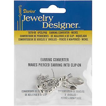 Earring Converters Pierced To Clip-On 4/Pkg-Nickel
