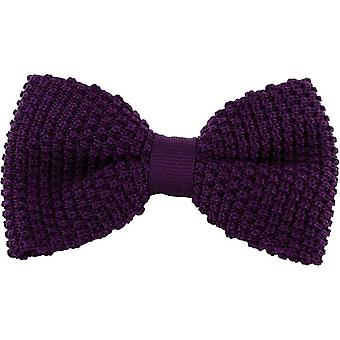 Michelsons of London Silk Knitted Bow Tie - Purple