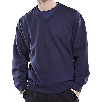 Click V Neck Polycotton Sweatshirt 300Gms Navy - Clvpcs