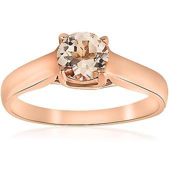 6MM Morganite Solitaire Engagement Anniversary Ring 14K Rose Gold