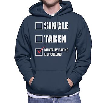 Mentaal daten Lily Collins mannen Hooded Sweatshirt