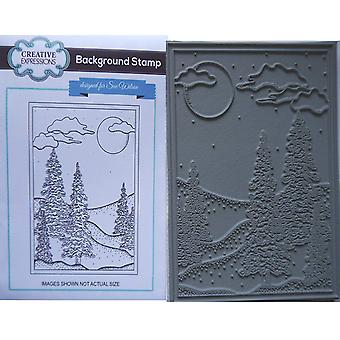 Creative Expressions Rubber Stamp - Winter Trees In Moonlight