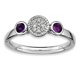 Sterling Silver Bezel Polished Prong set Rhodium-plated Stackable Expressions Db Round Amethyst and Dia. Ring - Ring Siz