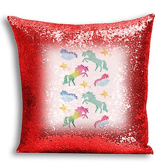i-Tronixs - Unicorn Printed Design Red Sequin Cushion / Pillow Cover for Home Decor - 7