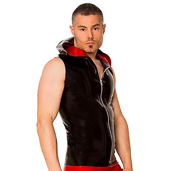 Skin Two Clothing Men's Sexy Kinky Shirt Tight Latex Rubber Black & Red