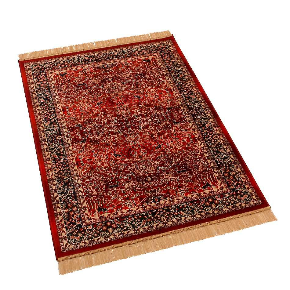 Red Persian Tree of Life Artificial Faux Silk Effect Rugs H262/12 100 x 140cm