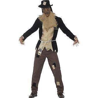 Gänsehaut die Vogelscheuche Kostüm, schwarz, mit Jacke & Mock Shirt, Hose, Seil, Maske & Hut