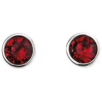 Début juillet Swarovski Birthstone boucles d'oreilles - argent/rouge