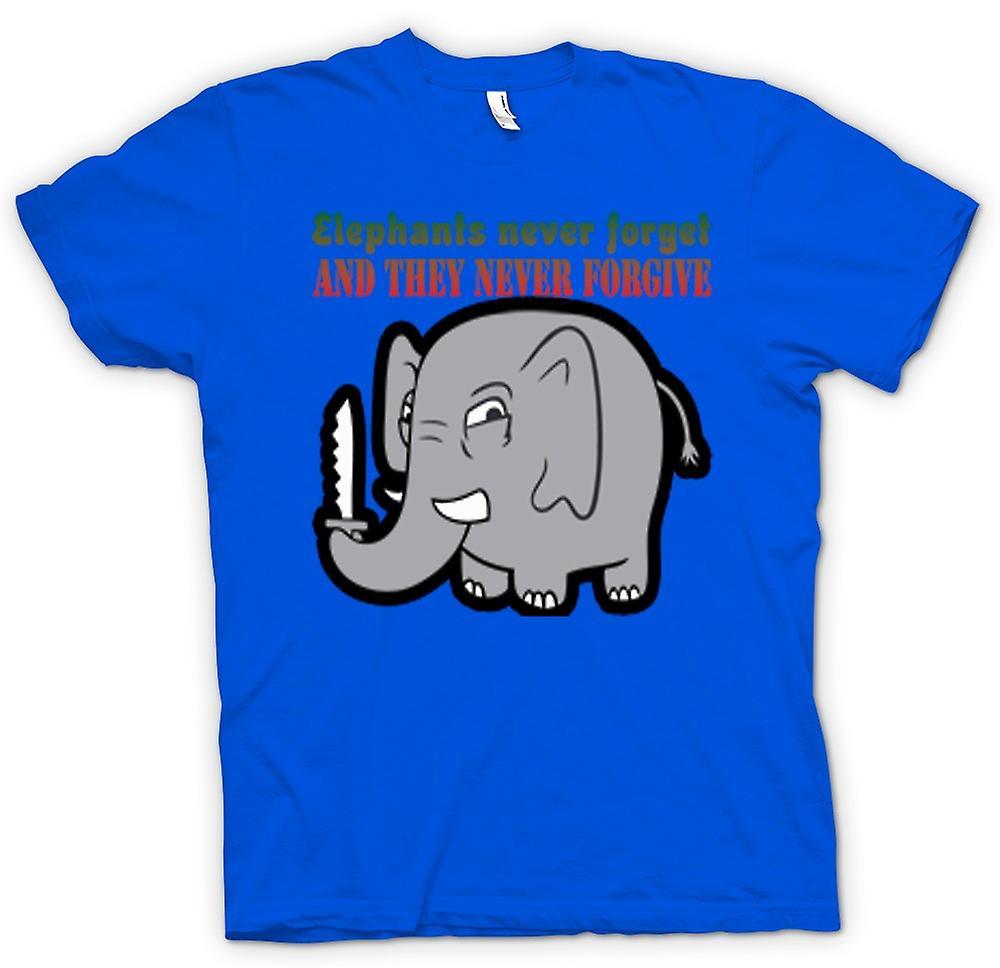 Mens t-shirt - elefanti mai dimenticare & non perdoneranno mai
