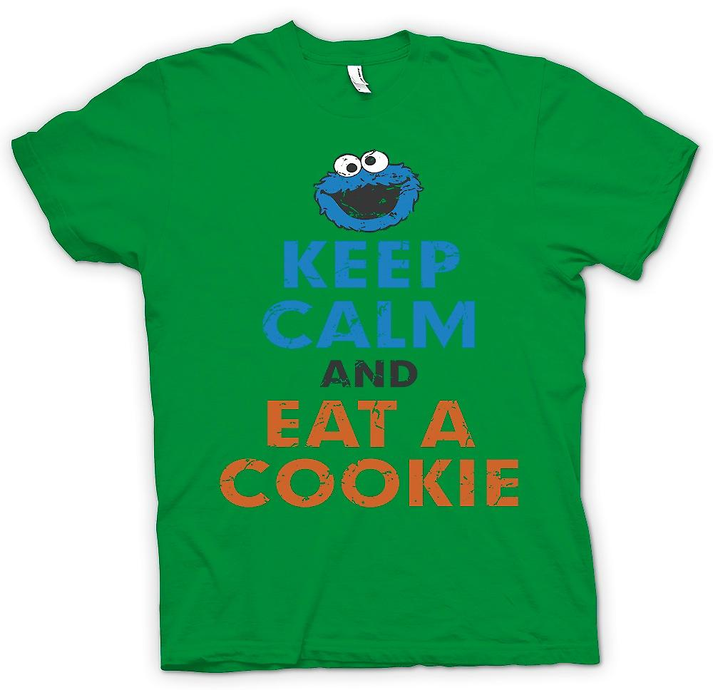Mens t-shirt - Mantieni la calma e mangiare un biscotto - Cookie Monster