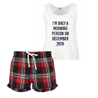 I'm Only A Morning Person On December 25th Ladies Tartan Frill Short Pyjama Set Red Blue or Green Blue