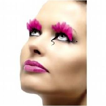 Feather Eyelashes, Neon Pink, Contains Glue
