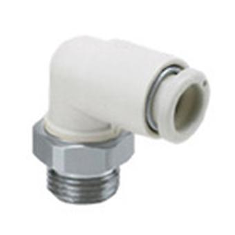 SMC Pneumatic Elbow Threaded-To-Tube Adapter, R 3/8 Male, Push In 8 Mm