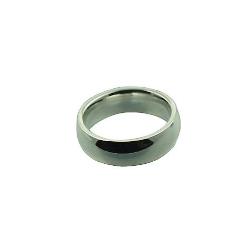 18ct white gold 6mm plain Court wedding ring