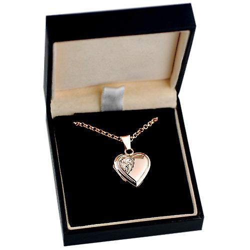 9ct Rose Gold 17x17mm engraved heart Locket with Belcher chain