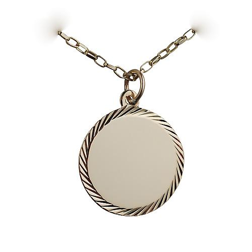 9ct Gold 19mm diamond cut edge round Disc with a belcher Chain 16 inches Only Suitable for Children