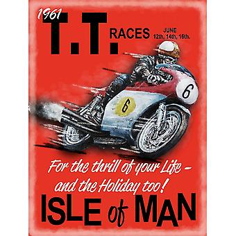 Isle of Man TT 1961 middelgrote metalen ondertekenen 300 x 200 mm (og)