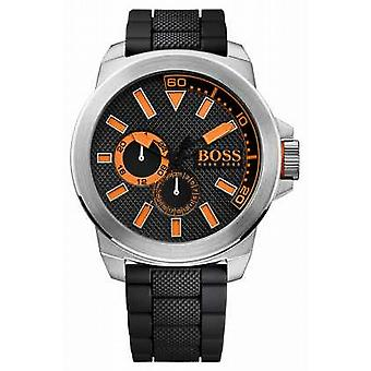 Hugo Boss oransje Mens rustfritt stål, sort gummi rem 1513011 Watch