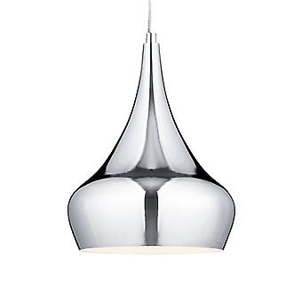Contemporary Chrome Ceiling Pendant With Clear Cable