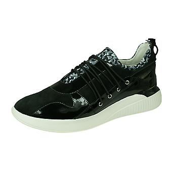 Geox D Theragon A Womens Suede Trainers / Shoes  - Black