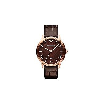 Emporio Armani Ar1613 Gents Dino Brown Leather Strap Watch