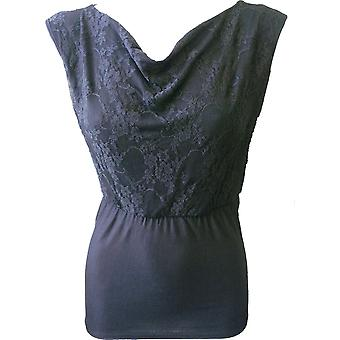 Spiral Direct Gothic GOTHIC ELEGANCE - Wide Neck Lace Layered Top Black|Gothic