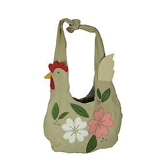 Beige canvas Floral kip hobo-tas
