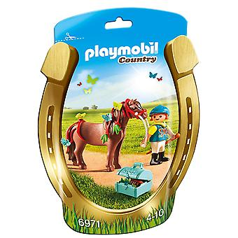 Playmobil 6971 Groomer collectable avec poney papillon