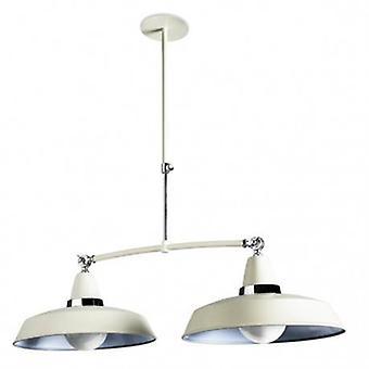 2 Light Adjustable Ceiling Pendant Bar Chrome, White