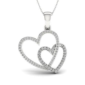 IGI Certified S925 Sterling Silver 0.20ct TDW Diamond Twin Heart Necklace