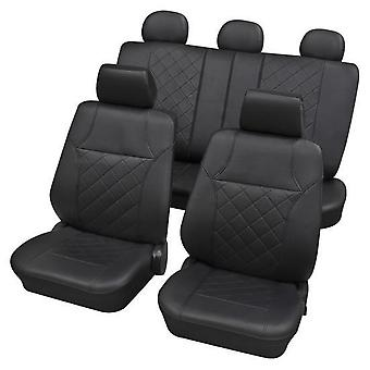 Black Leatherette Luxury Car Seat Cover set For Fiat PANDA 2003-2018