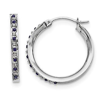 925 Sterling Silver Polished Gift Boxed Gemstone accent and Platinum-plated Dia. and Sapphire Round Hinged Hoop Earrings