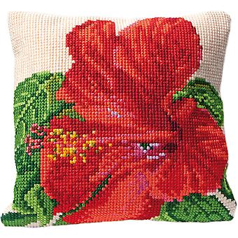 Hibiscus Cushion Tapestry Kit-15.75