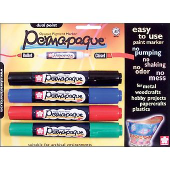 Permapaque Paint Marker Dual Point Carded 4 Pkg Black Red Blue Green Ppmdp 48014