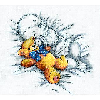 Baby with Teddy Bear Counted Cross Stitch Kit 8