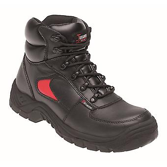 Toesavers Black/Red Leather Safety Trainer 3414 Boot with Dual Density Sole & Midsole