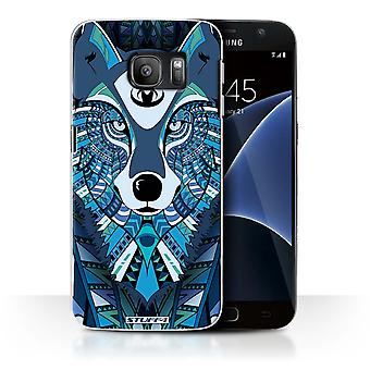 STUFF4 Case/Cover for Samsung Galaxy S7/G930/Wolf-Blue/Aztec Animal