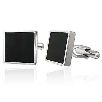 Urban Male Modern Stainless Steel & Black Resin Square Cufflinks