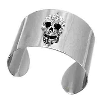 Butler  and  Wilson Crystal Skull on Wide Metal Cuff Bracelet  Clear