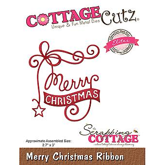 CottageCutz Elites Die -Merry Christmas Ribbon, 2.7