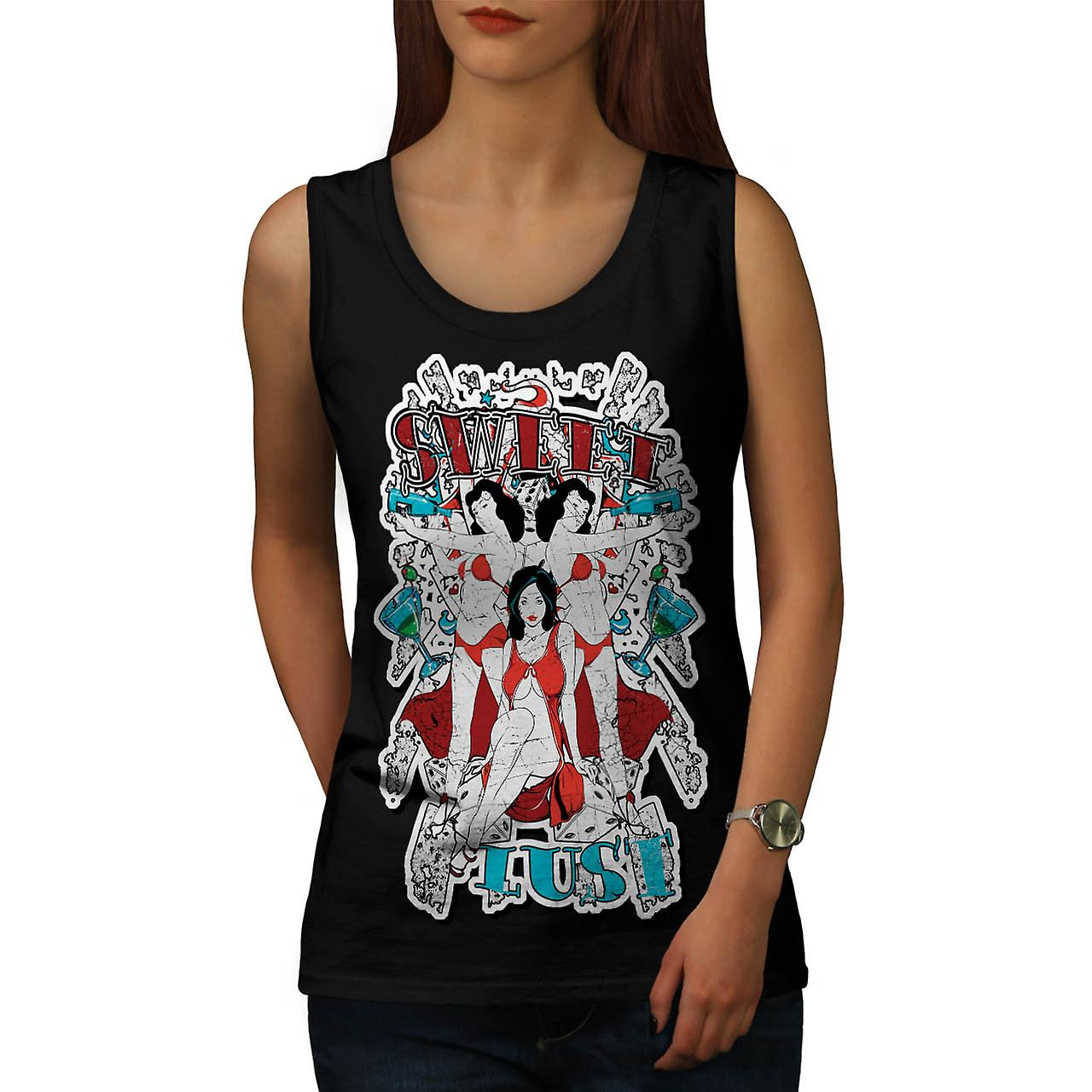 Sweet Lust Casino Bet Seduction Women Black Tank Top | Wellcoda