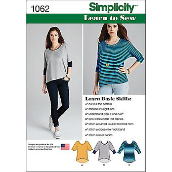 SIMPLICITY MISSES' LEARN TO SEW KNIT TOPS-XXS-XS-S-M-L-XL-XXL US1062A