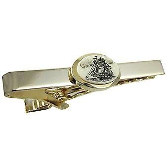 Gold Plated Scrimshaw Tall Ship Tie Bar Clip Business