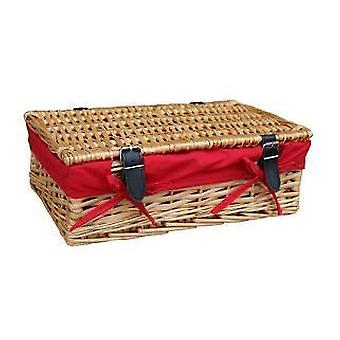 Empty Wicker Rectangular Gift Red Lined Basket