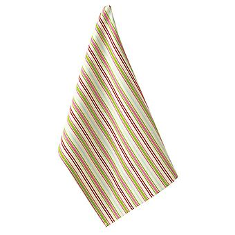 Holiday Merriment Pink and Lime Green Stripes Kitchen Dish Towel by Split P