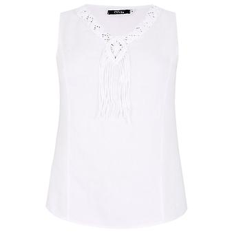PAPRIKA White Sleeveless Top With Tassel Detail