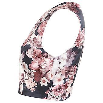Miss Selfridge Evening Satin Floral V-Neck Cropped Sleeveless Top UK SIZE 8
